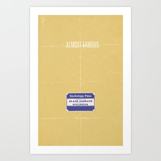 Almost Famous minimalist poster Art Print