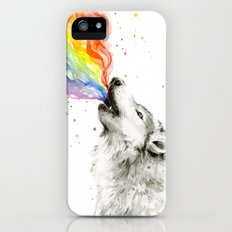 Wolf Rainbow Watercolor Howling Animal Whimsical Animals iPhone SE Slim Case