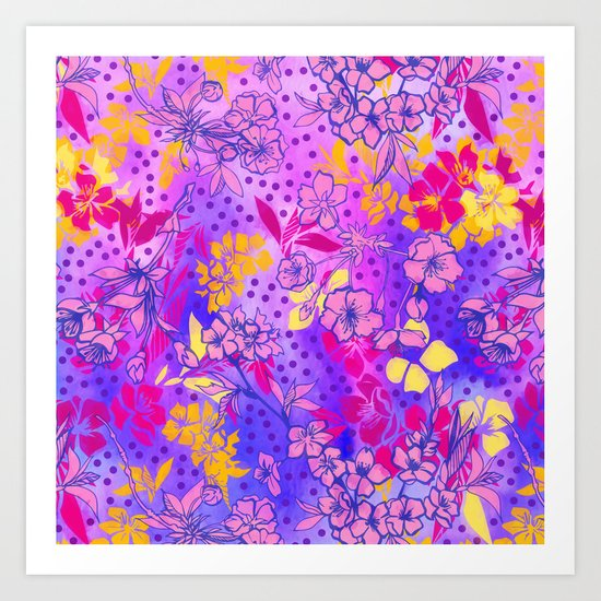 Colorful cherry blossoms Art Print