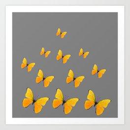 YELLOW BUTTERFLIES CHARCOAL GREY ART Art Print