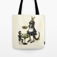 cafe Tote Bags featuring Kangaroo cafe by Anna Shell