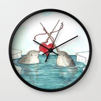 knitting Wall Clocks featuring Knitting Narwhals by Georgia Dunn