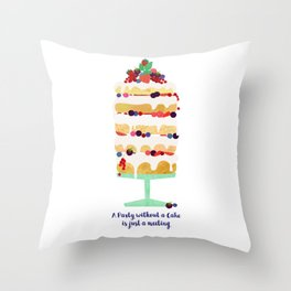 A Party without a Cake Throw Pillow