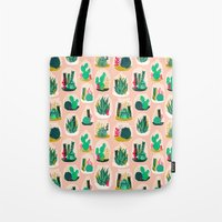 garden Tote Bags featuring Terrariums - Cute little planters for succulents in repeat pattern by Andrea Lauren by Andrea Lauren Design