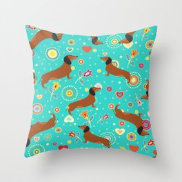 Dachshunds & flowers Throw Pillow