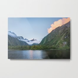 Beautiful sunset color at Harrison Cove in Milford Sound Metal Print