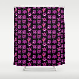 The Many Faces of Gengar (Black) Shower Curtain