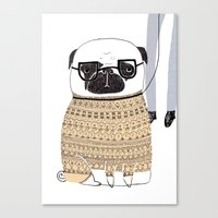 pug Canvas Prints featuring Pug  by Phillippa Lola