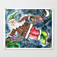 santa Canvas Prints featuring Santa by Shelley Ylst Art