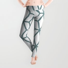 Aqua and White Geometric Tessellation Pattern 16 Pairs 2021 Color of the Year Aegean Teal Leggings