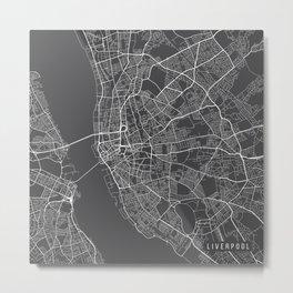 Liverpool Map, England - Gray Metal Print