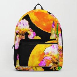 SURREAL IRIS GARDEN & RISING GOLD MOON IN BLACK SKY Backpack