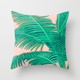 Palm trees on pink Throw Pillow