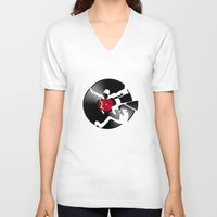 music V-neck T-shirts featuring music  by mark ashkenazi