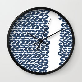 Missing Knit Navy on White Wall Clock
