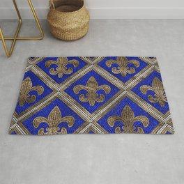 Fleur-de-lis mosaic tile pattern Rug