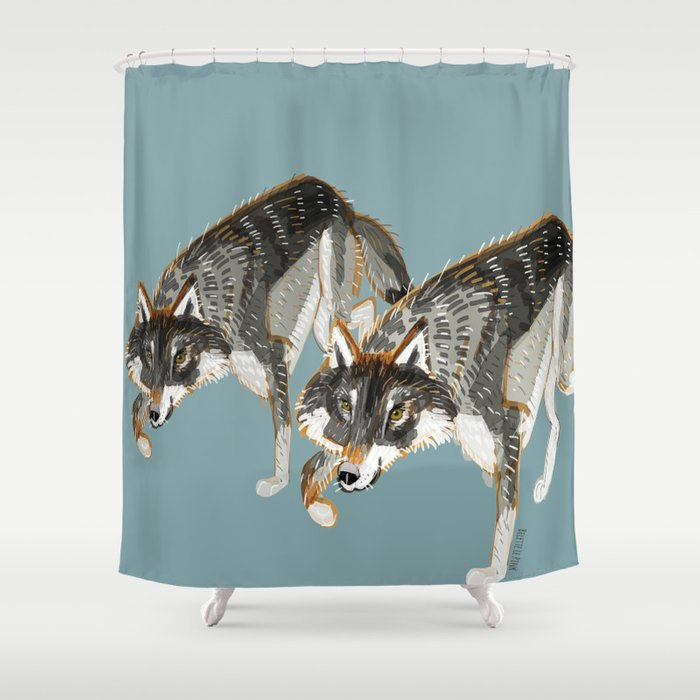 Totem Dark European Wolf Shower Curtain By Natachapink