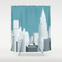 manhattan Shower Curtains featuring Manhattan by mauromod