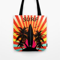 surf Tote Bags featuring Surf by mark ashkenazi