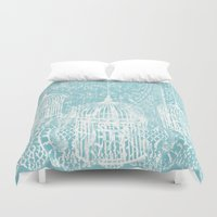 aelwen Duvet Covers featuring Hang in there.  by Elena O'Neill