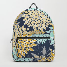 Floral Prints and Leaves, Navy Blue, Aqua, Yellow and Gray Backpack