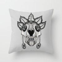 animal skull Throw Pillows featuring Animal skull by SilviaGancheva
