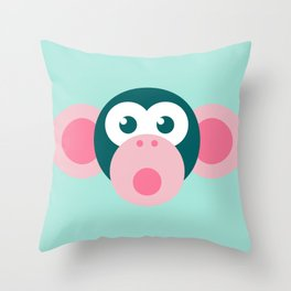 """Oops!"" Stylized Monkey - Zoo series Throw Pillow"
