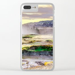Geysers valley in Iceland Clear iPhone Case