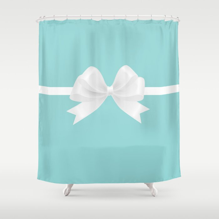 Turquoise White Bow Shower Curtain By Christyne