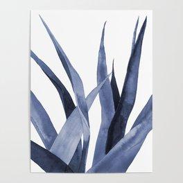Blue watercolour plant. Poster