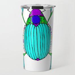 Egyptian Scarab Beetle Turquoise Travel Mug
