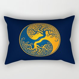 Blue and Yellow Tree of Life Yin Yang Rectangular Pillow