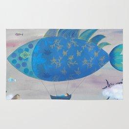 Flying Fish in Sea of Clouds with Sleeping Child Rug