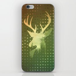 Golden Deer Abstract Footprints Landscape Design iPhone Skin