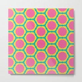 Abstract Pink and Yellow Pitaya Fruit Pattern Metal Print