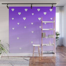 Purple Ombre with White Hearts Wall Mural