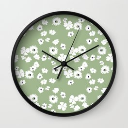 Modern floral on dusty green ground Wall Clock