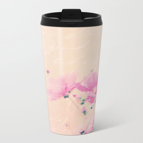 Pastel Pink Flowers mixed media art Metal Travel Mug