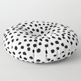 Preppy black and white dots minimal abstract brushstrokes painting illustration pattern print Floor Pillow