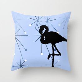 MidCentury Modern Atomic Starburts Flamingo Blue Throw Pillow