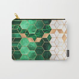 Emerald Cubes And Hexagons Carry-All Pouch