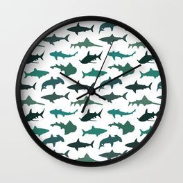 Green Sharks Wall Clock