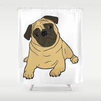 pug Shower Curtains featuring PUG by Elena O'Neill