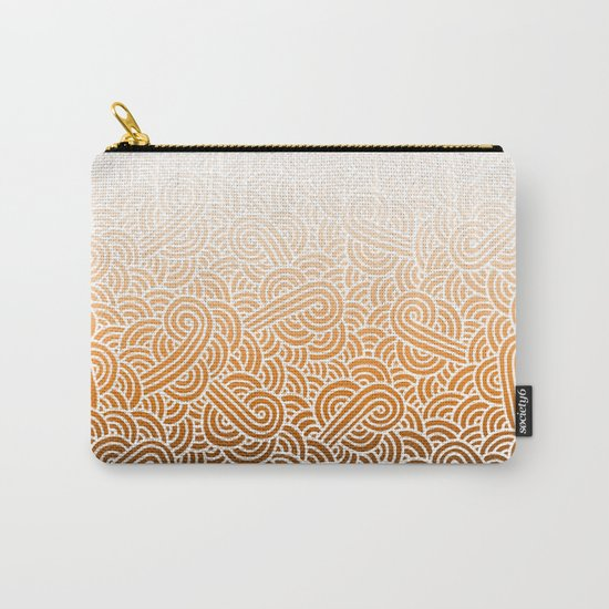 Ombre orange and white swirls doodles Carry-All Pouch