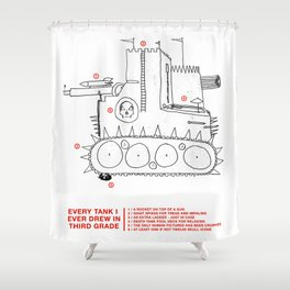 every tank i ever drew in third grade Shower Curtain