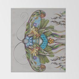 Botanical Butterfly No. 1 Throw Blanket