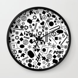 Bits And Pieces - Eclectic Black And White Random Pattern Wall Clock