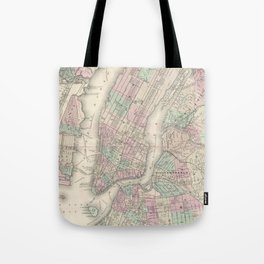 Vintage Map of NYC and Brooklyn (1865) Tote Bag