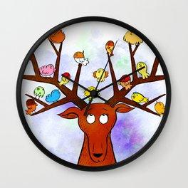 Deer with little birds Wall Clock