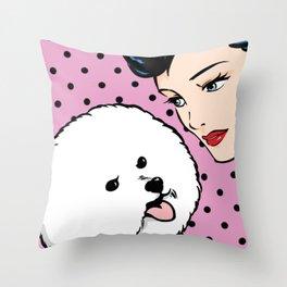 Love Life Comic Girl and Bichon Pop Art Throw Pillow